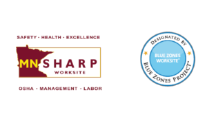 MN Sharp and Blue Zones logos